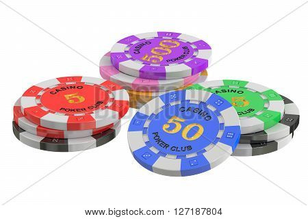gaming chips 3D rendering isolated on white background