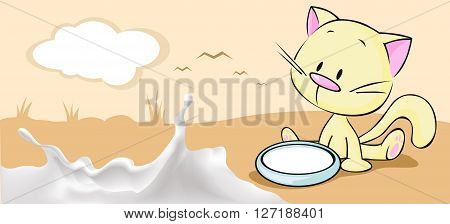 milk horizontal banner design with cute kitty and milk splash