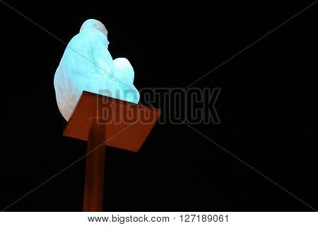Nice, France - May 18: This is one of the seven art figure at night on the Massena Square May 18, 2015 in Nice, France.