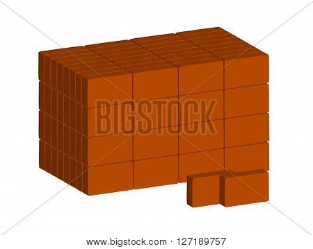 Stack of ordinary red bricks on white background. Vector. Horizontal.