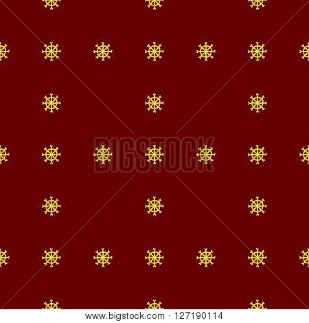 Christmas seamless pattern in Doodle style Golden snowflake. Paper products, wrapping, textiles on red colored background