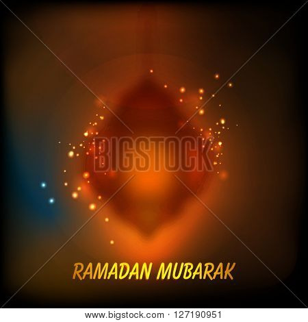 Creative blurred lamp on shiny background for Holy Month of Muslim Community, Ramadan Mubarak celebration.
