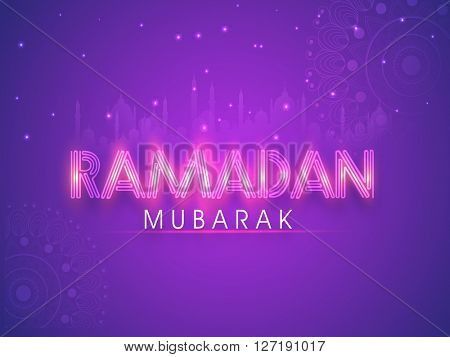 Creative glossy text Ramadan Mubarak on Mosque silhouetted purple background, Can be used as Poster, Banner or Flyer design.