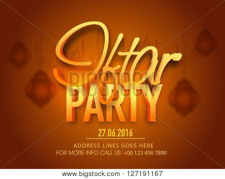 Beautiful glossy text Iftar Party on hanging lamps and mosque silhouetted creative brown background, Elegant poster, banner or flyer for Islamic Holy Month of Fasting celebration.