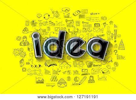 Idea Concept Layout for Brainstorming and Infographic background with graphs sketches. A lot of hand drawn infographics and related design elements are included plus 3D glossy lamp.