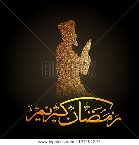 Golden illustration of a religious man reading Namaz (Islamic Prayer) and glossy Arabic Islamic Calligraphy of text Ramadan Kareem for Muslim Community Festival celebration.