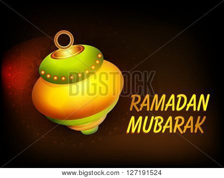 Beautiful glossy Lamp with Golden text Ramadan Mubarak on floral design decorated background for Islamic Holy Month of Fasting celebration.