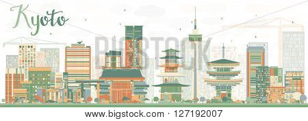 Abstract Kyoto Skyline with Color Landmarks. Business Travel or Tourism Concept with Modern and Historic Buildings. Image for Presentation Banner Placard and Web Site.