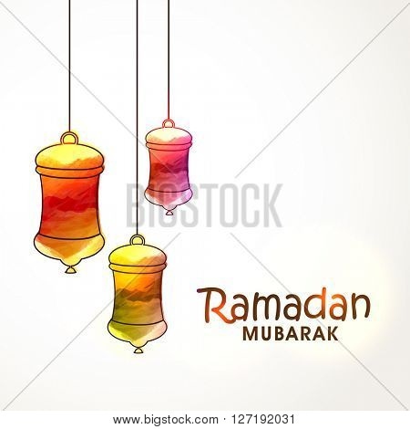 Colourful hanging lamps decorated greeting card design for Holy Month of Muslim Community, Ramadan Mubarak celebration.