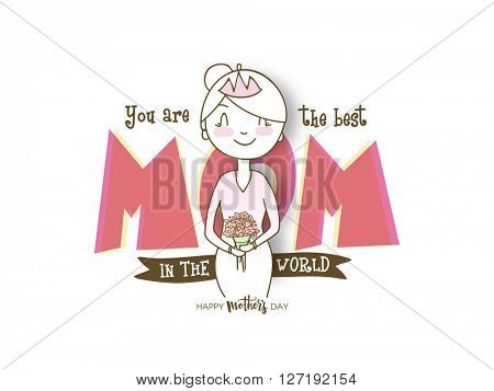 Elegant creative greeting card design with stylish text Mom and illustration of a happy woman for Mother's Day celebration.