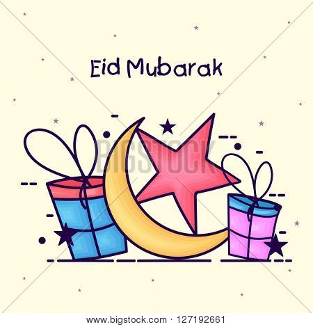 Elegant greeting card design decorated with crescent moon, star and gifts for Islamic Famous Festival, Eid Mubarak celebration.
