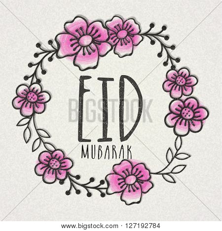 Beautiful Flowers decorated, Greeting Card design for Islamic Famous Festival, Eid Mubarak celebration.