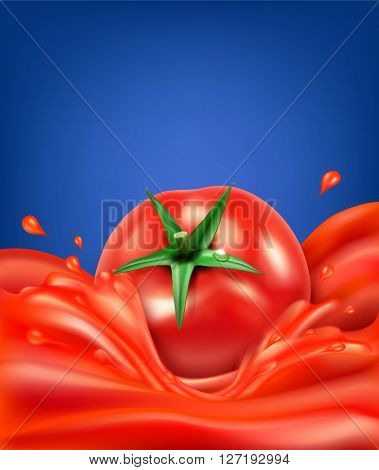 background with splashes, waves of red tomato juice and tomato. isolated on blue background