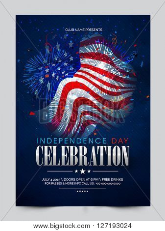 Glossy American Flag decorated, Pamphlet, Banner or Flyer design for Independence Day celebration.