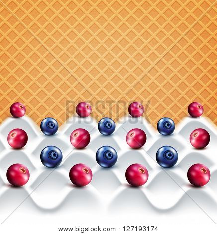 template:  wave yogurt with berries (cranberries, blueberries)  on a background of sweet waffles(JPEG Version)