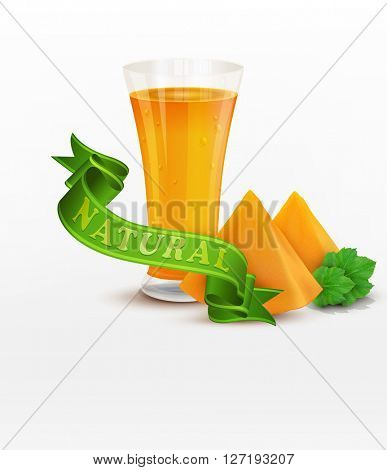 background with slices of pumpkin and green ribbon isolated on white background(JPEG Version)