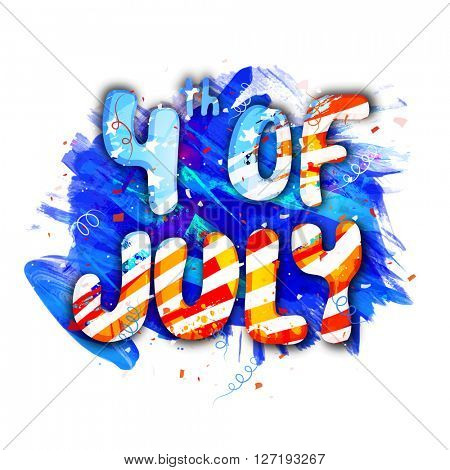 American Flag colors text 4th of July on blue paint stroke background for Independence Day celebration.