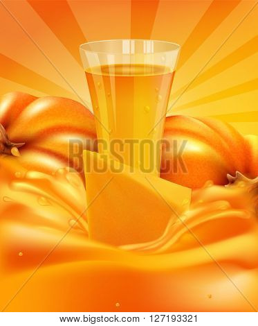 background with a pumpkin and a glass of pumpkin juice and a splash of juice(JPEG Version)