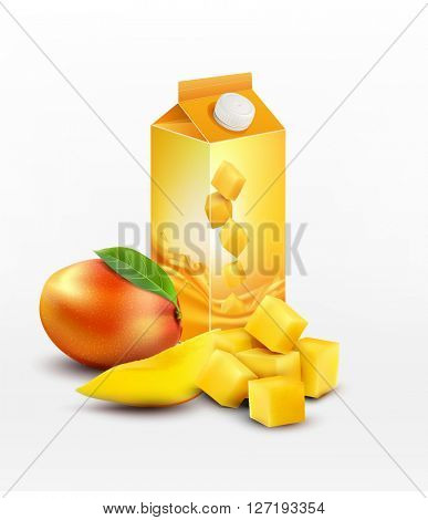 pack of mango juice with slices and diced mango, isolated on white background