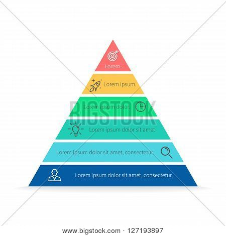 Pyramid for infographics with numbers. Chart, diagram with 6 steps, options. Vector design element.