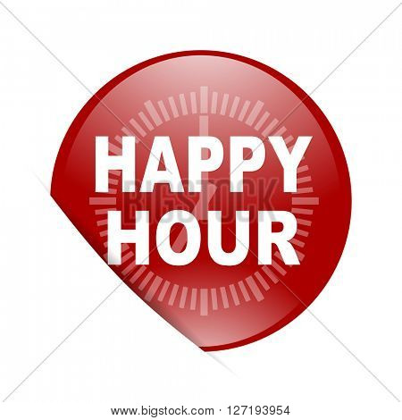 happy hour red circle glossy web icon