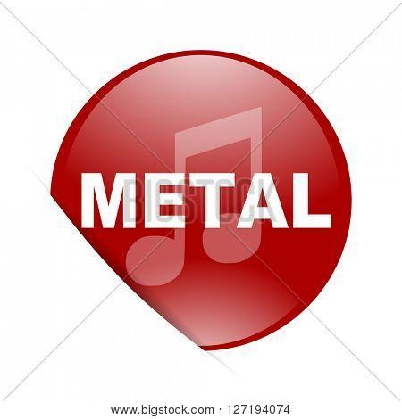 metal music red circle glossy web icon