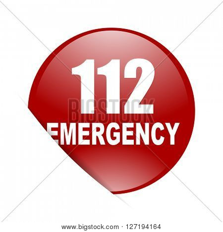 number emergency 112 red circle glossy web icon
