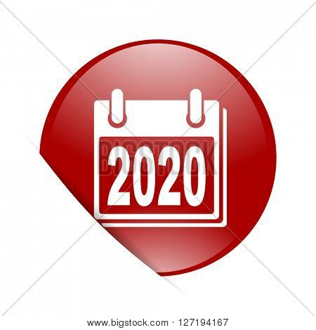 new year 2020 red circle glossy web icon