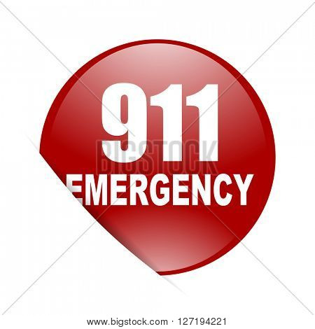 number emergency 911 red circle glossy web icon