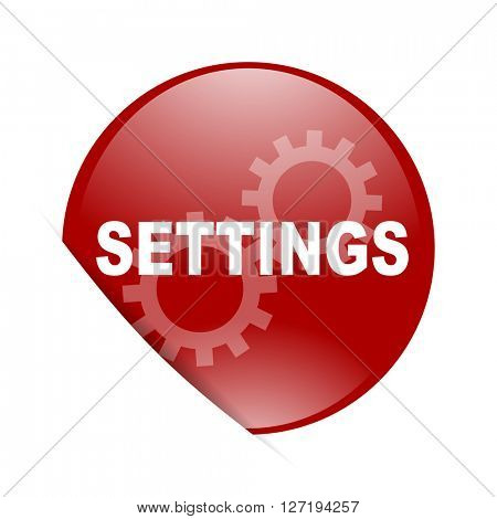 settings red circle glossy web icon