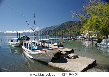 Harbor on lake Atitlan in Guatemala, Central America