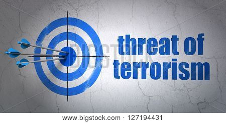 Success politics concept: arrows hitting the center of target, Blue Threat Of Terrorism on wall background, 3D rendering