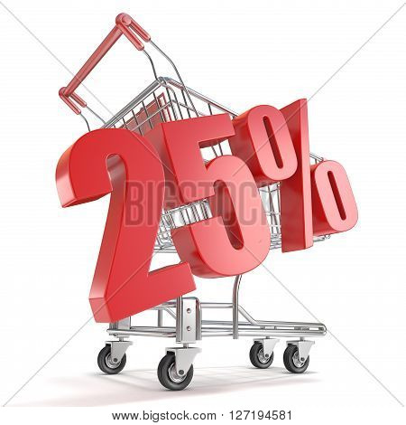 25% - twenty five percent discount in front of shopping cart. Sale concept. 3D render illustration isolated on white background