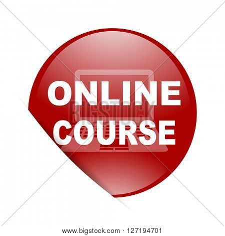 online course red circle glossy web icon