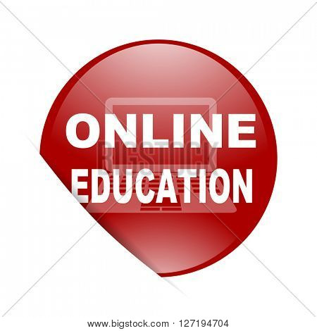 online education red circle glossy web icon