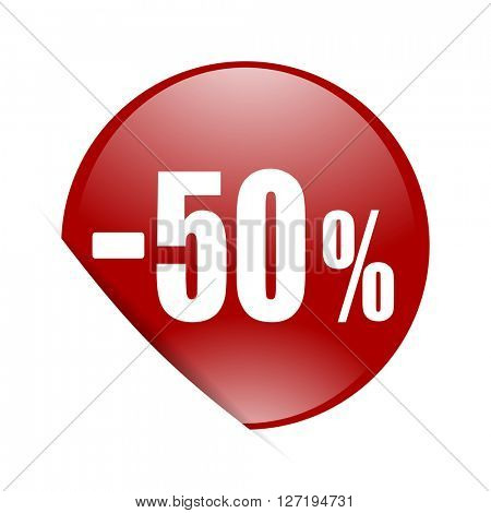 50 percent sale retail red circle glossy web icon