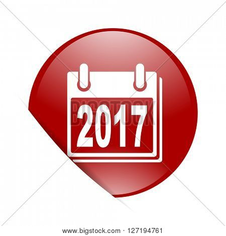 new year 2017 red circle glossy web icon