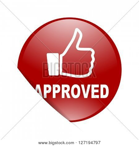 approved red circle glossy web icon