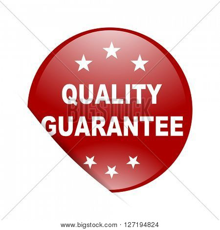 quality guarantee red circle glossy web icon