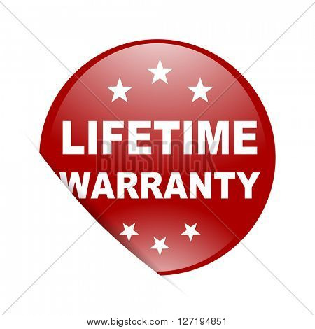 lifetime warranty red circle glossy web icon