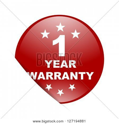 warranty guarantee 1 year red circle glossy web icon