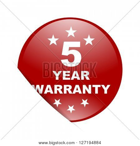 warranty guarantee 5 year red circle glossy web icon