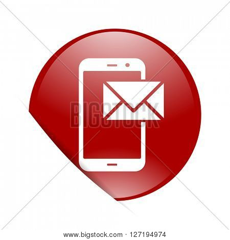 mail red circle glossy web icon