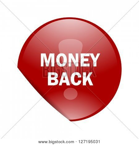 money back red circle glossy web icon