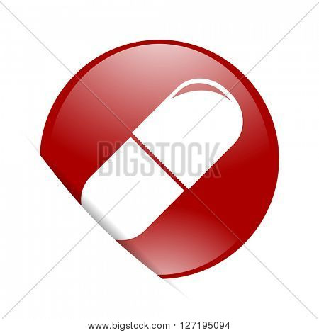 drugs red circle glossy web icon