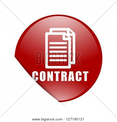 contract red circle glossy web icon