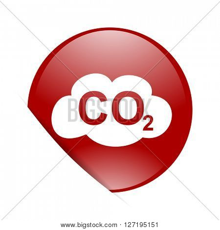 carbon dioxide red circle glossy web icon