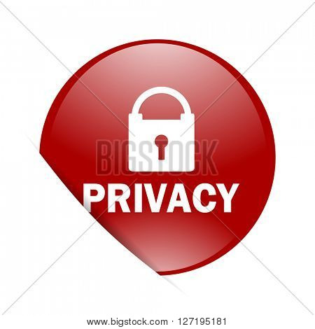 privacy red circle glossy web icon