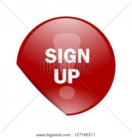 sign up red circle glossy web icon