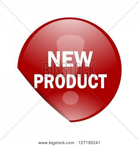 new product red circle glossy web icon
